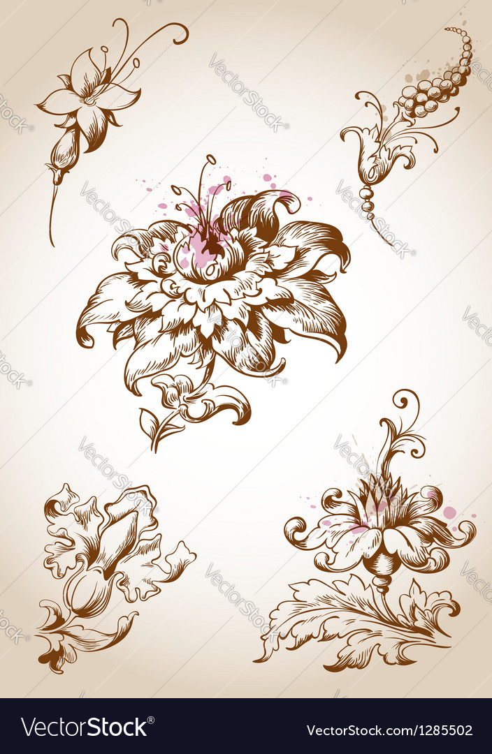 Vintage floral element vector | Price: 1 Credit (USD $1)