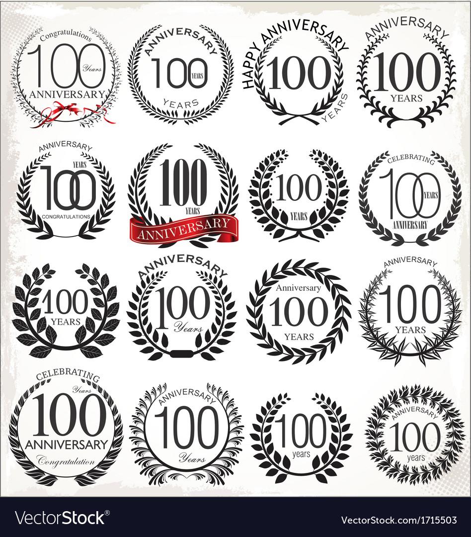 100 years anniversary laurel wreaths vector | Price: 1 Credit (USD $1)