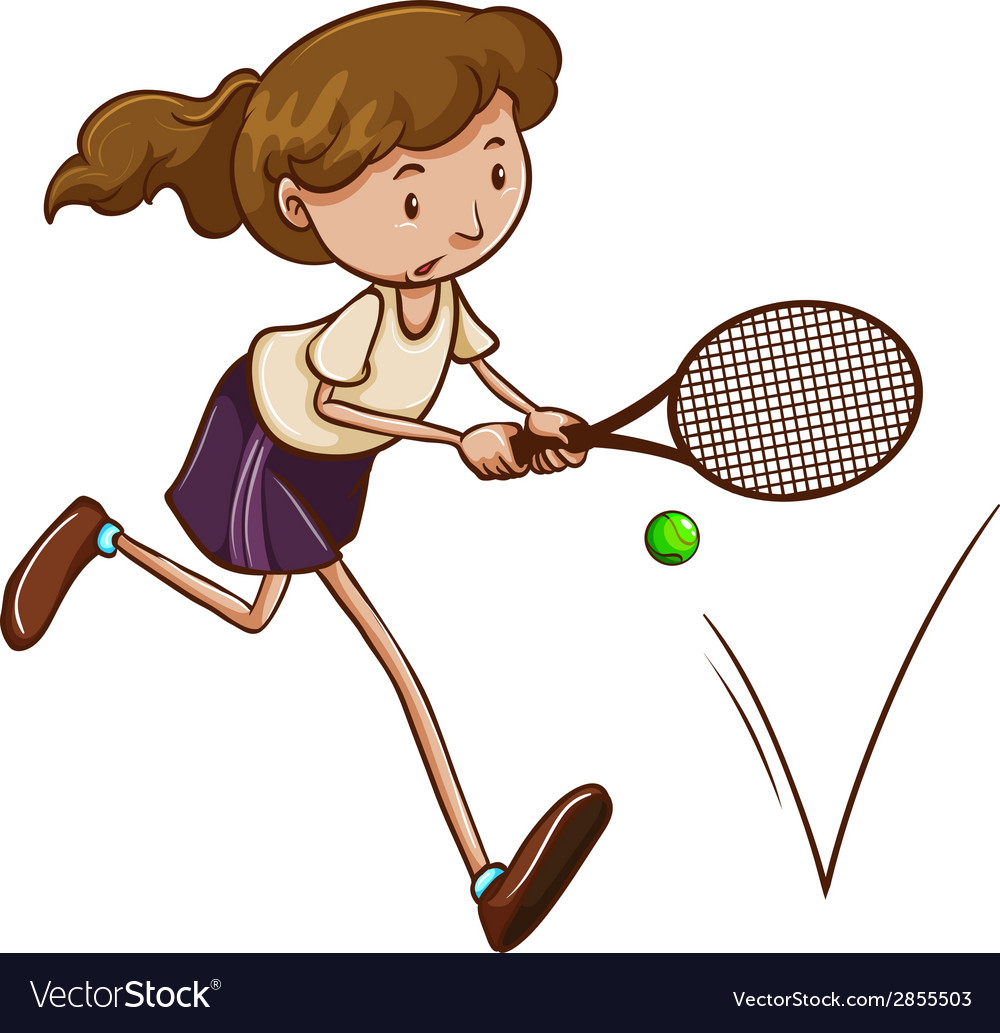 A simple sketch of a girl playing tennis vector | Price: 1 Credit (USD $1)