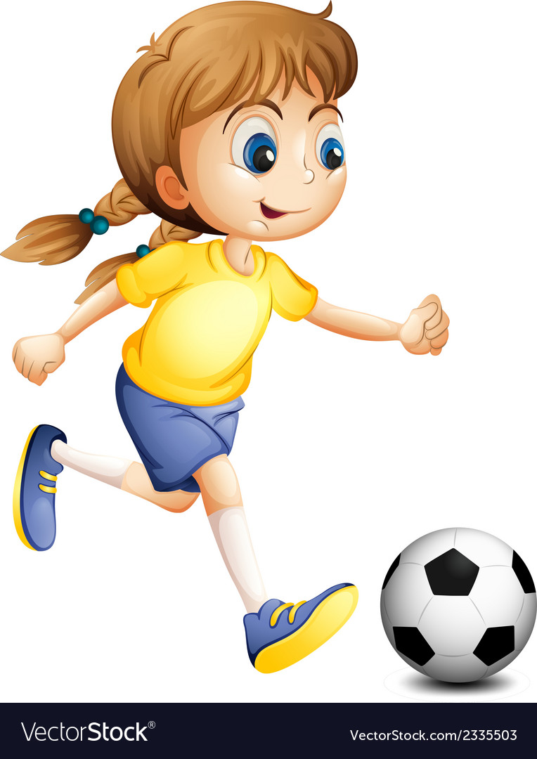 A young woman playing football vector | Price: 1 Credit (USD $1)