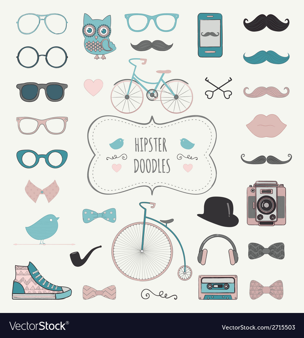 Hipster retro vintage doodle icon set vector | Price: 1 Credit (USD $1)