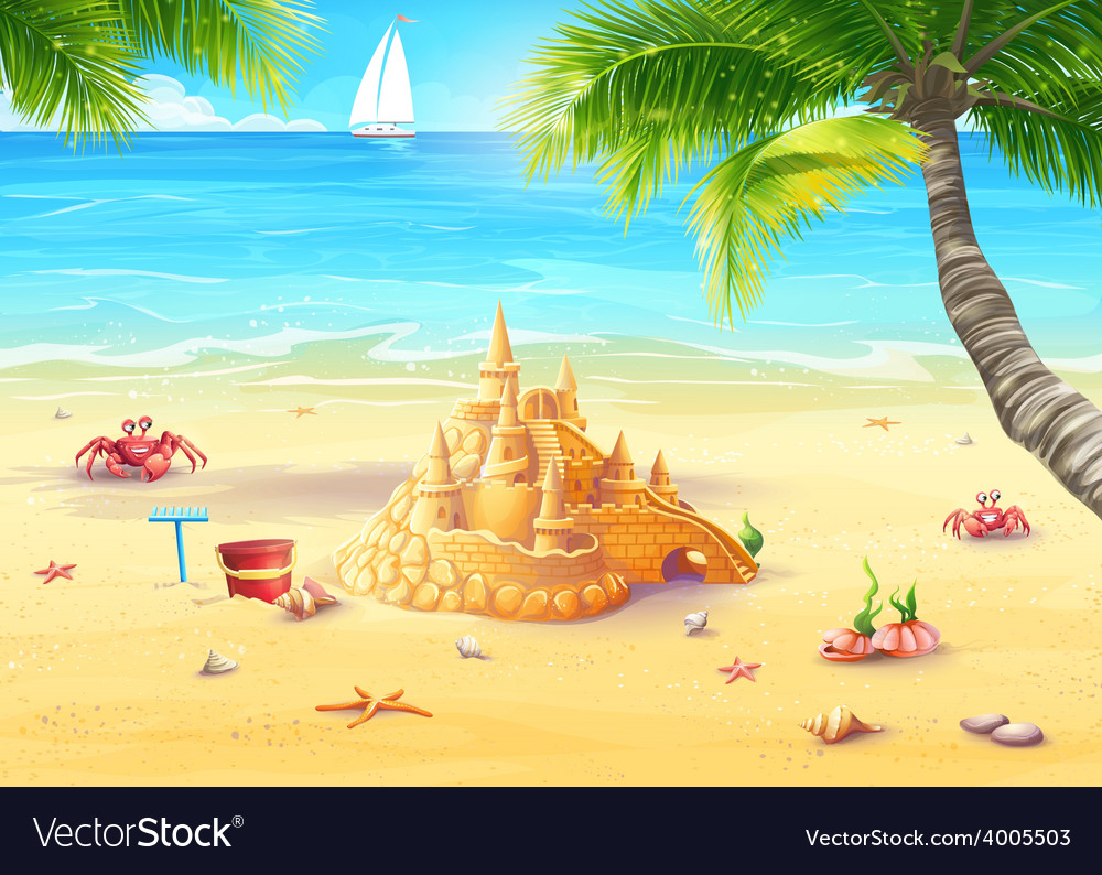 Holiday by the sea with sand castle vector | Price: 5 Credit (USD $5)