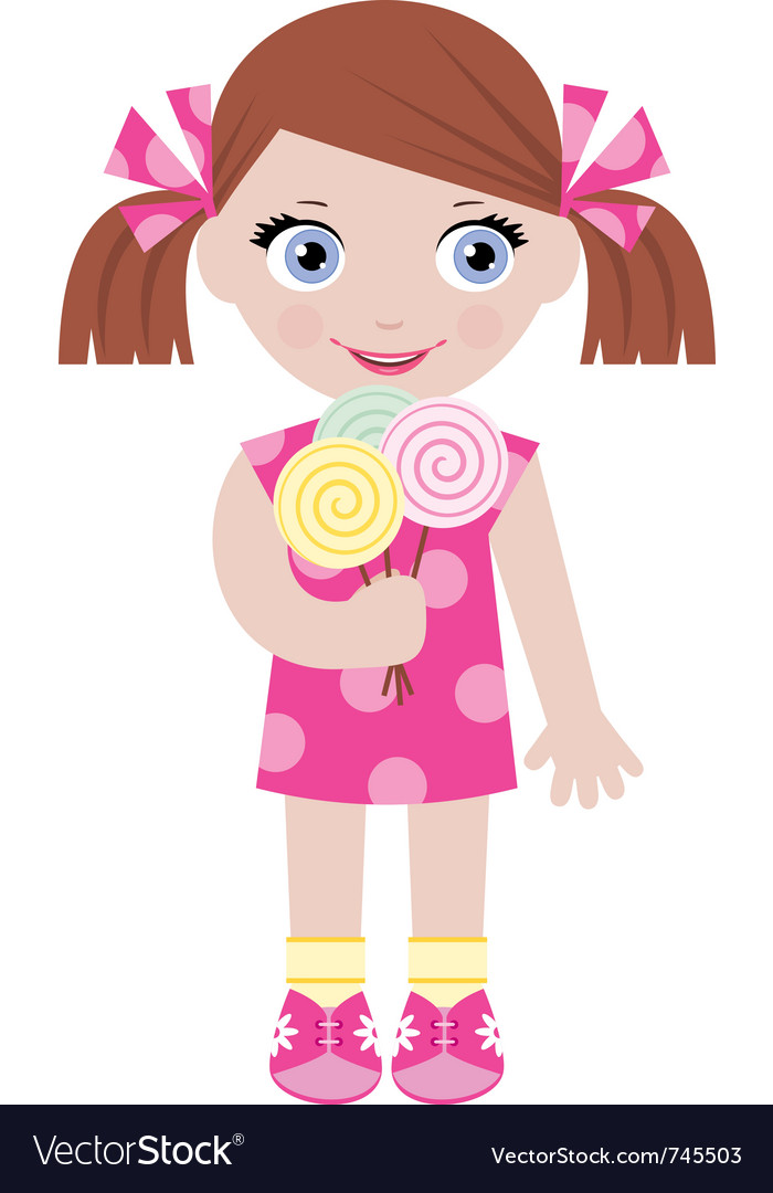 Little girl with sugar candies vector | Price: 3 Credit (USD $3)