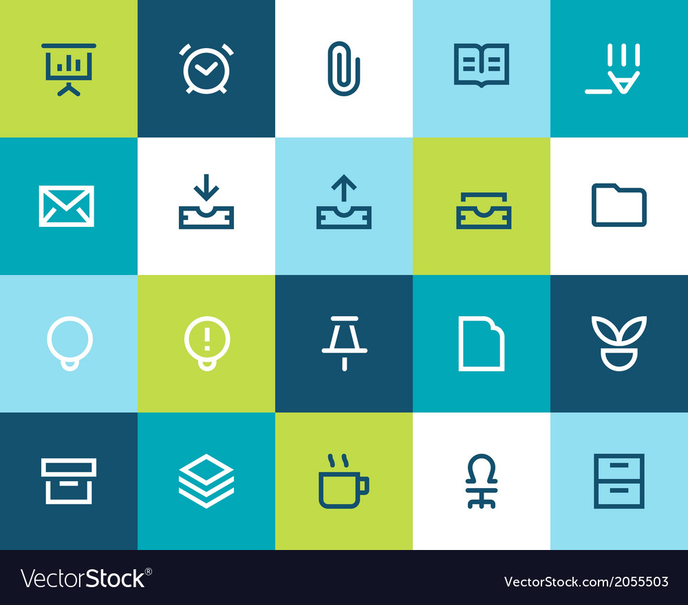 Office icons set flat vector | Price: 1 Credit (USD $1)