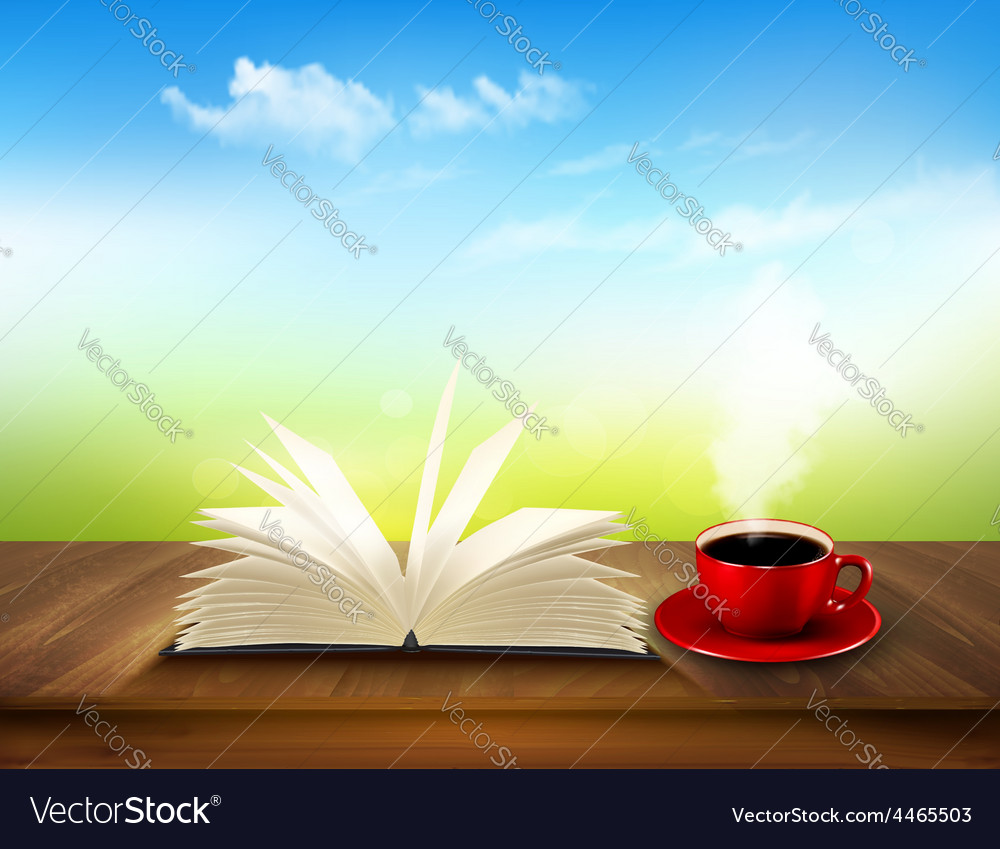 Open book and red cup on a wooden deck with green vector | Price: 3 Credit (USD $3)