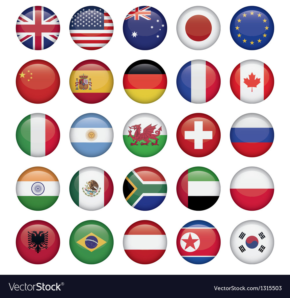 Set of round flags world top states vector | Price: 1 Credit (USD $1)