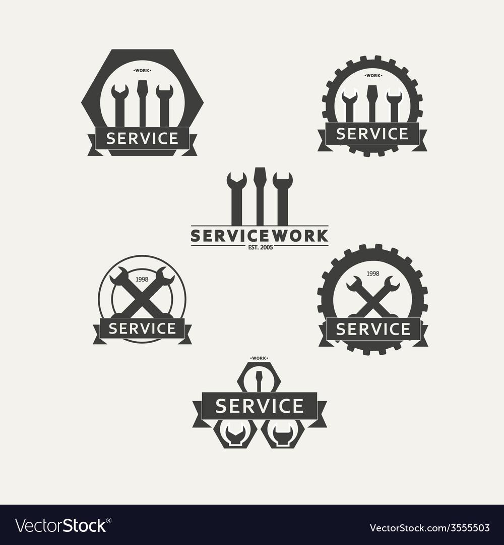 Set of simple emblems workshop maintenance vector | Price: 1 Credit (USD $1)