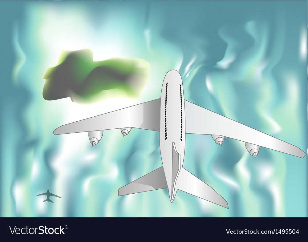 Airplane over the sea vector | Price: 1 Credit (USD $1)