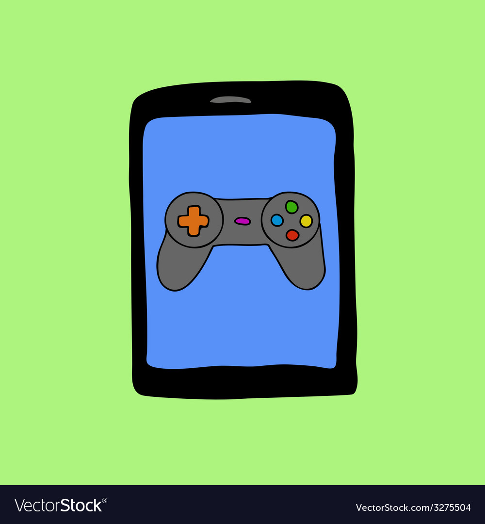 Doodle style tablet pc with gamepad vector | Price: 1 Credit (USD $1)