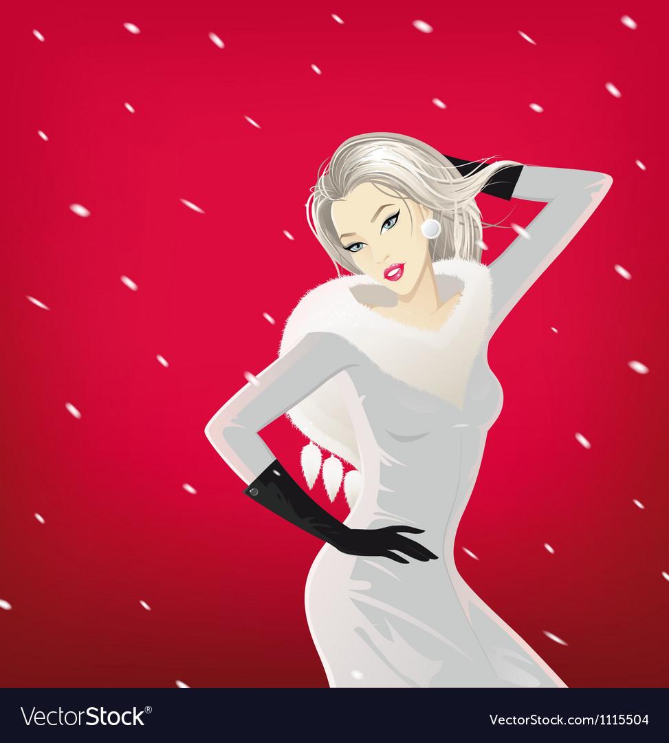 Glamorous winter girl vector | Price: 3 Credit (USD $3)