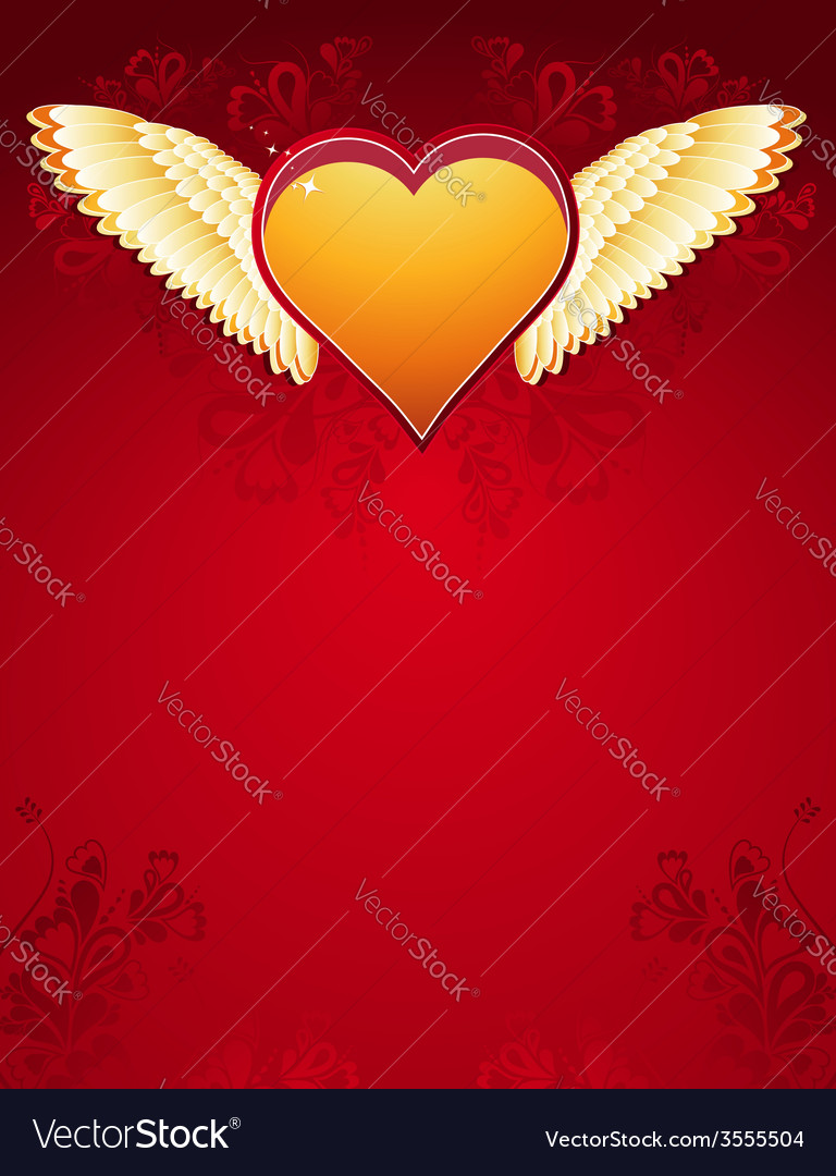 Golden heart with wings on red background vector | Price: 1 Credit (USD $1)