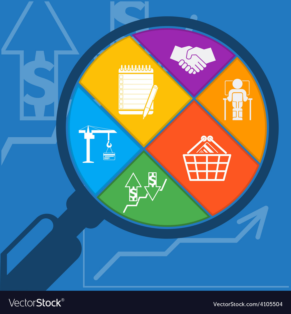 Magnifying glass and shopping basket vector | Price: 1 Credit (USD $1)