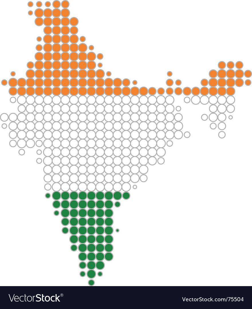 Map and flag of india vector | Price: 1 Credit (USD $1)