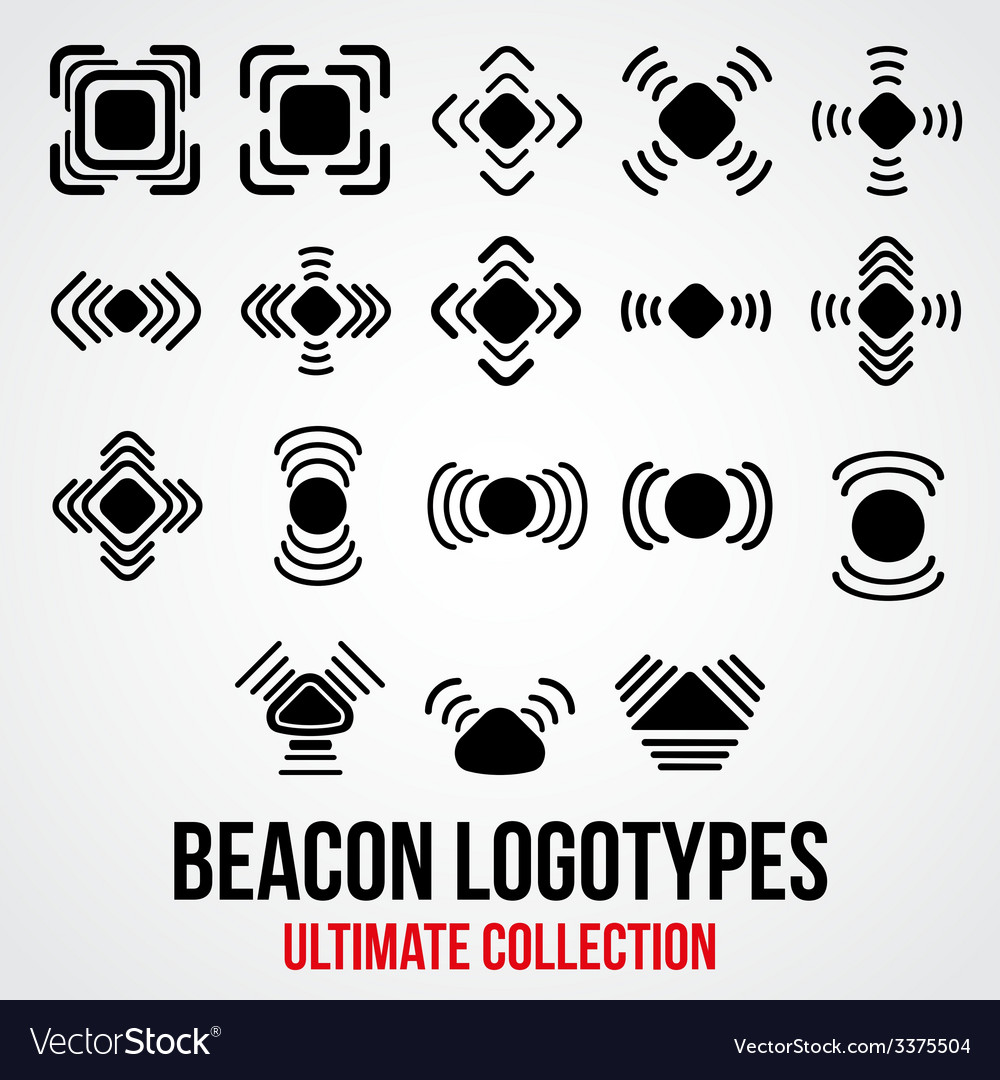 Set of black bluetooth gps beacon icons vector | Price: 1 Credit (USD $1)