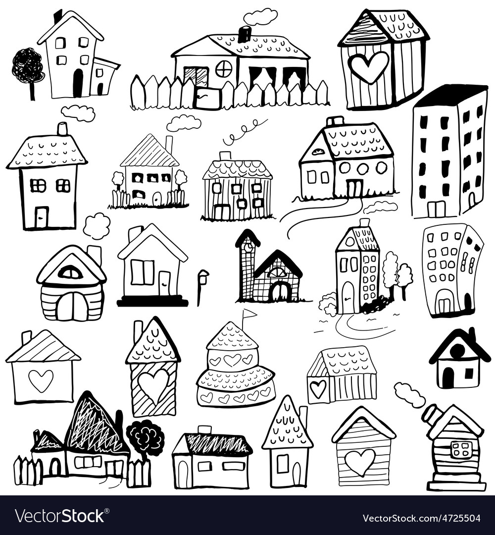 Set of doodled houses vector | Price: 1 Credit (USD $1)