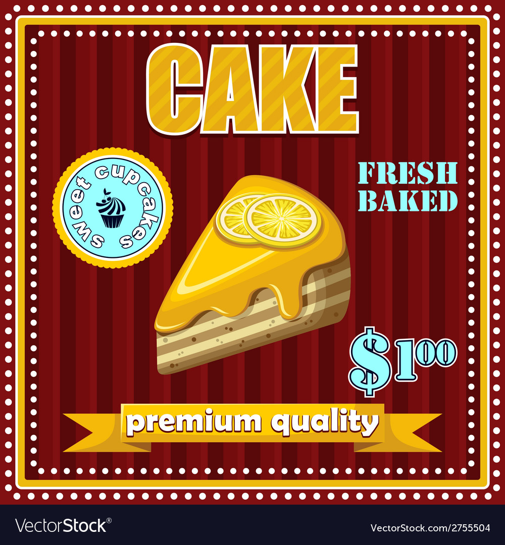 Vintage cake poster vector | Price: 3 Credit (USD $3)