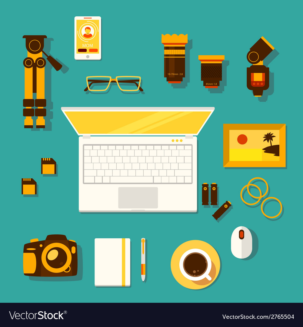 Workplace of photographer vector | Price: 1 Credit (USD $1)