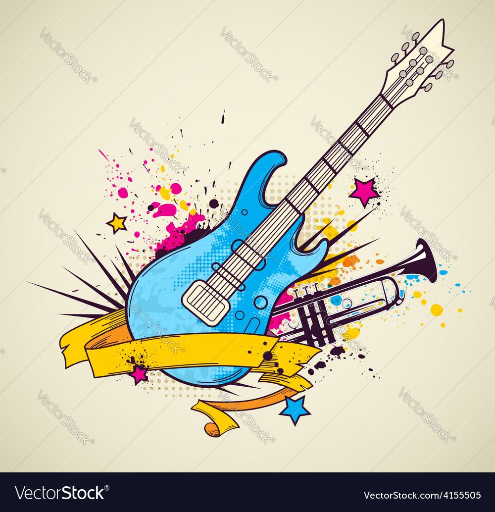Background with electric guitar and trumpet vector | Price: 1 Credit (USD $1)