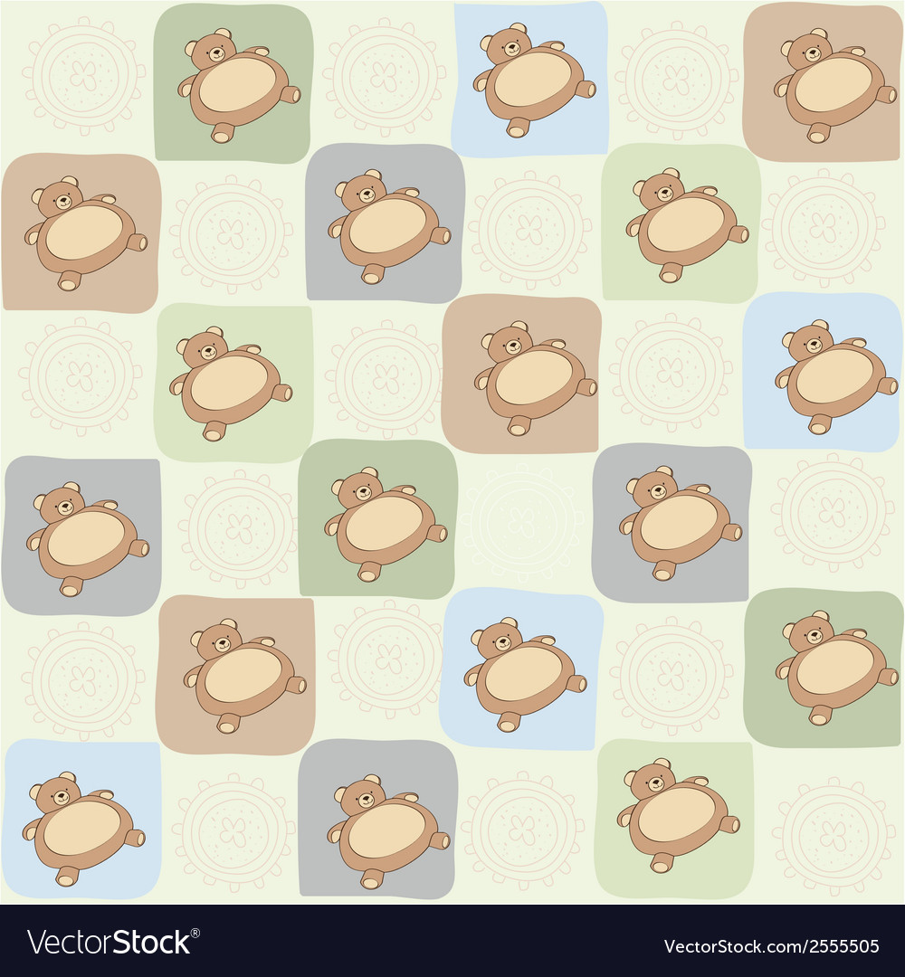 Childish seamless pattern with teddy bear vector | Price: 1 Credit (USD $1)