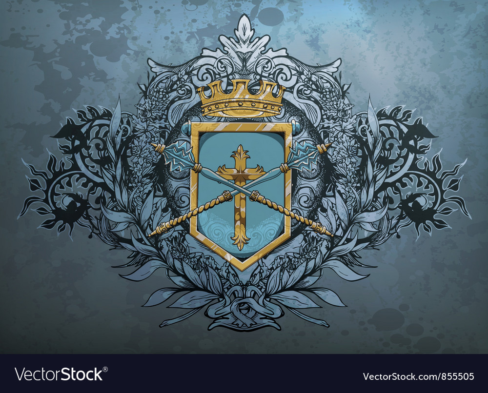 Crest with floral vector | Price: 1 Credit (USD $1)