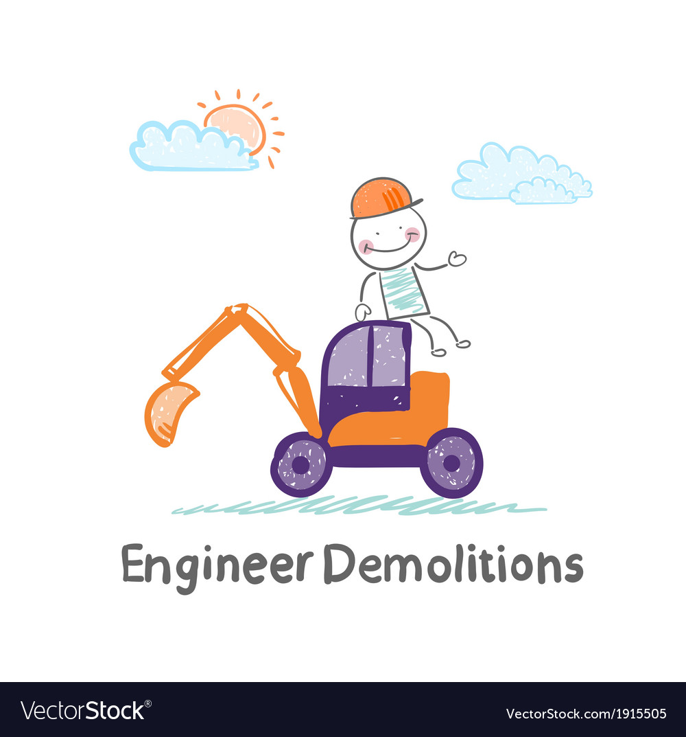 Engineer demolitions sits on the excavator vector | Price: 1 Credit (USD $1)