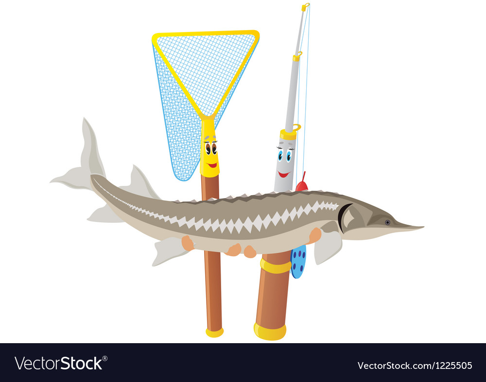 Fishing rod net and sturgeon vector | Price: 1 Credit (USD $1)