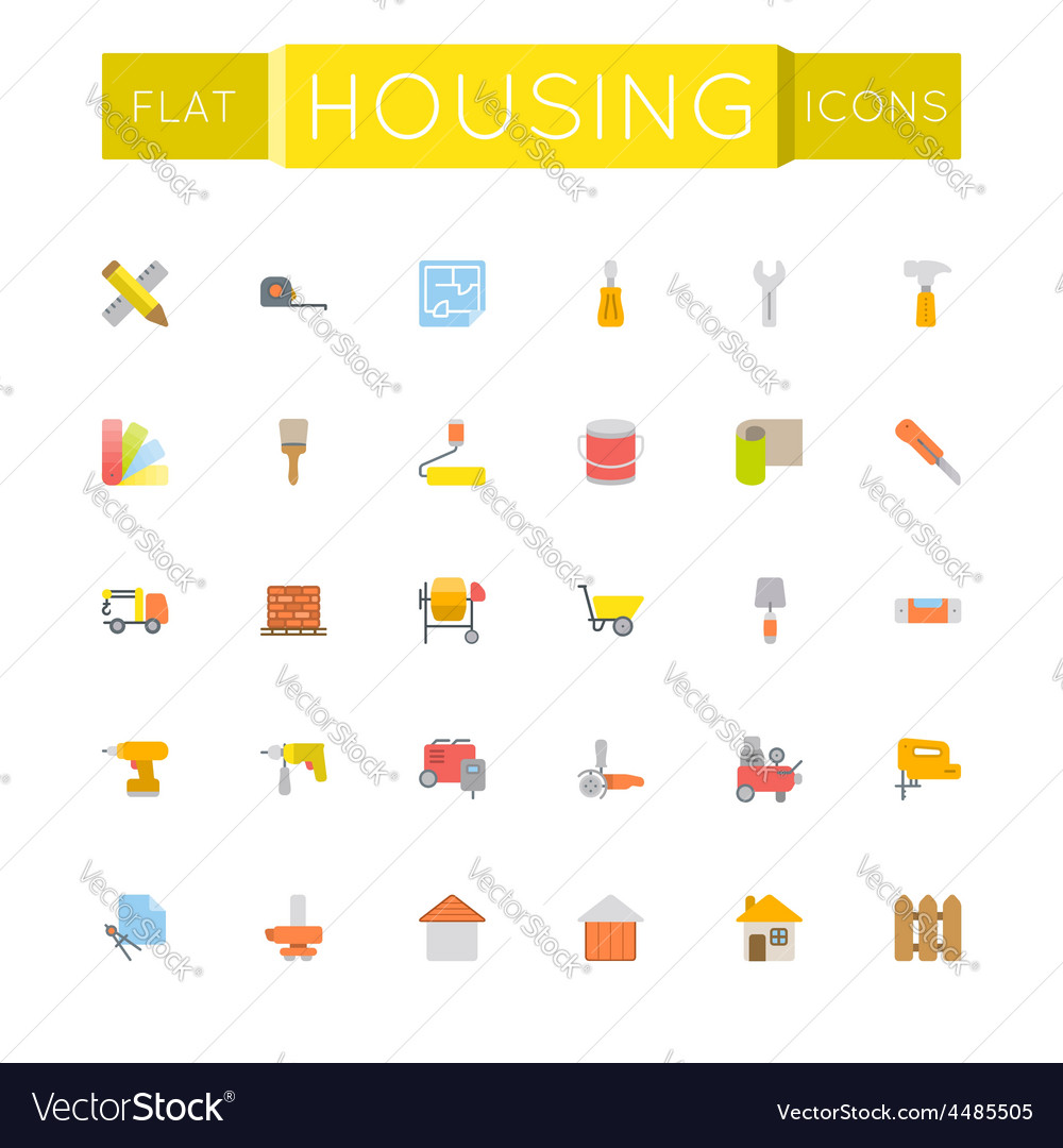 Flat housing icons vector   Price: 1 Credit (USD $1)