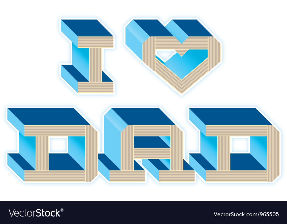 I heart dad - blue vector | Price: 1 Credit (USD $1)