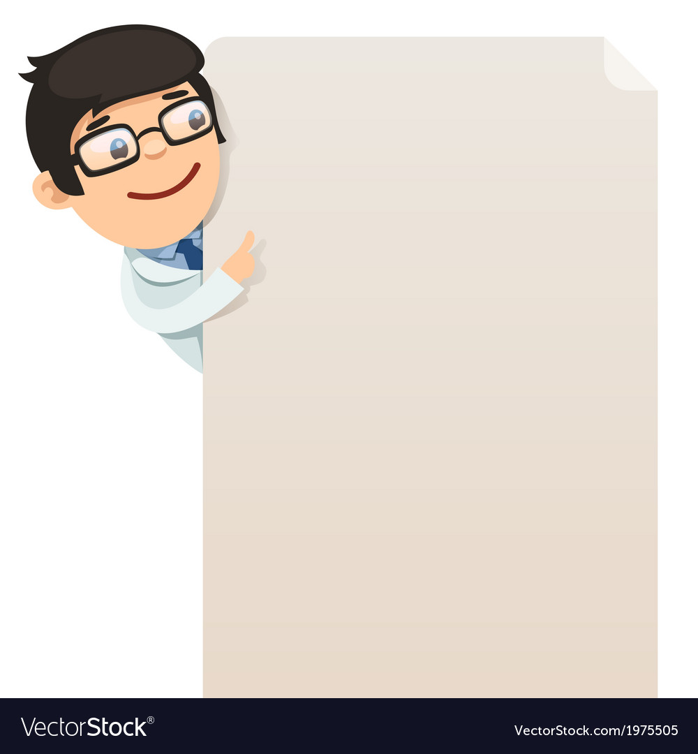 Male doctor looking at blank poster vector | Price: 1 Credit (USD $1)