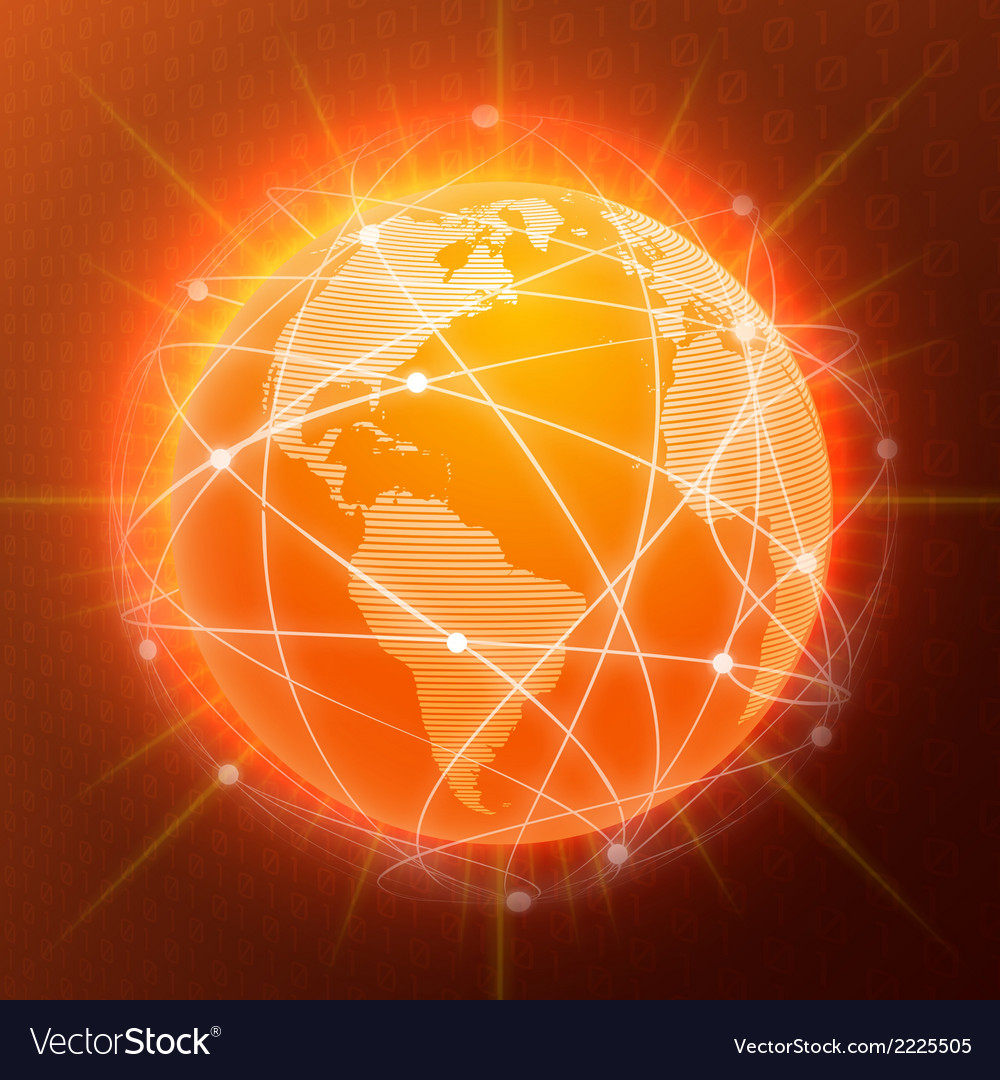 Network globe concept orange vector | Price: 1 Credit (USD $1)
