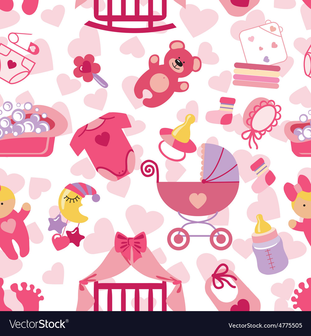 Newborn baby girl seamless pattern vector | Price: 1 Credit (USD $1)