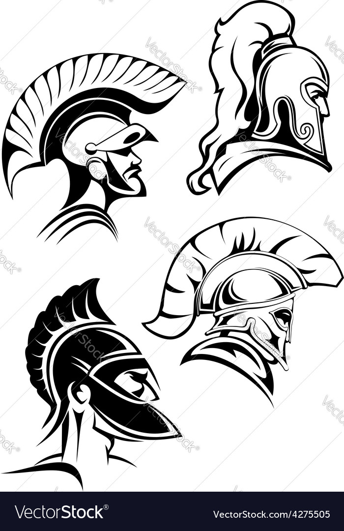 Outline spartan warriors or gladiators heads vector | Price: 1 Credit (USD $1)