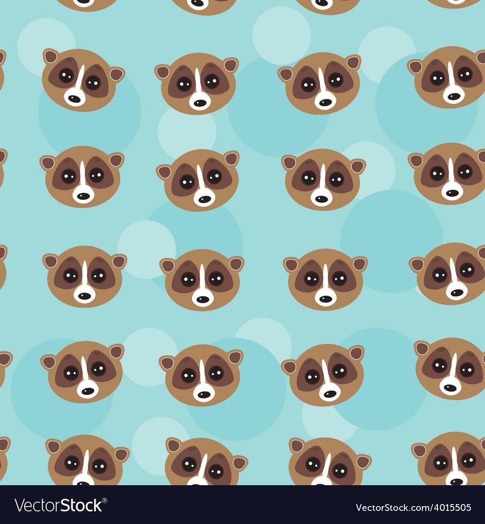 Seamless pattern lemur muzzle on blue background vector | Price: 1 Credit (USD $1)