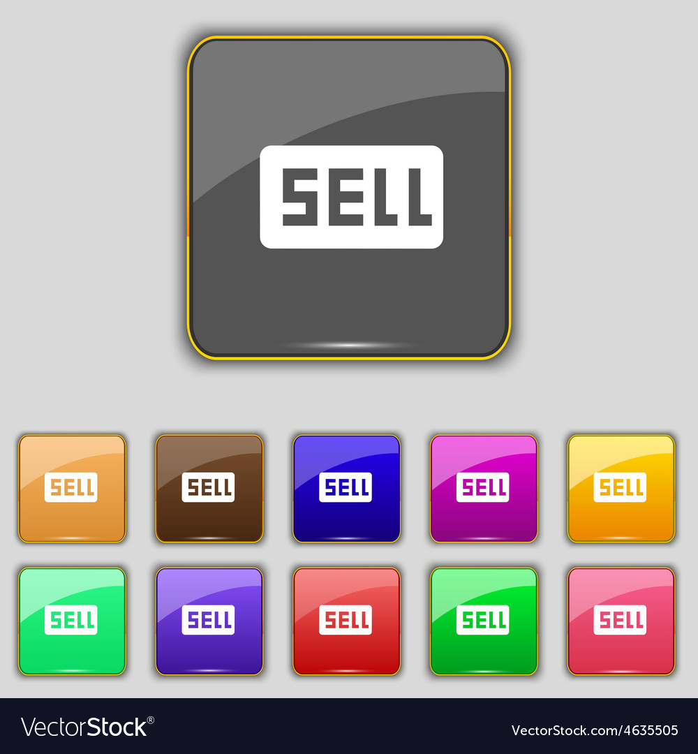 Sell contributor earnings icon sign set with vector | Price: 1 Credit (USD $1)