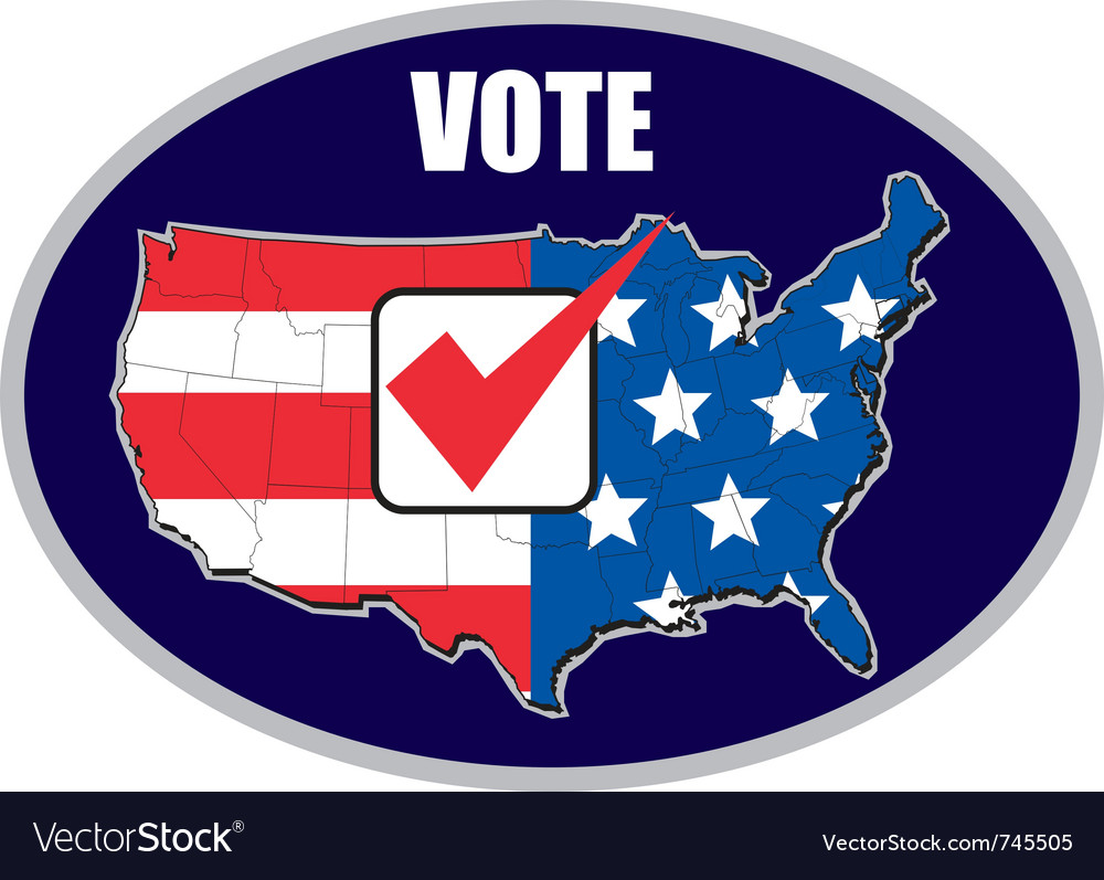 Vote tick map of america flag vector | Price: 1 Credit (USD $1)