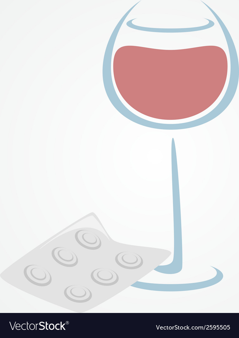 Wine and tablets minimal symbols headache from vector | Price: 1 Credit (USD $1)