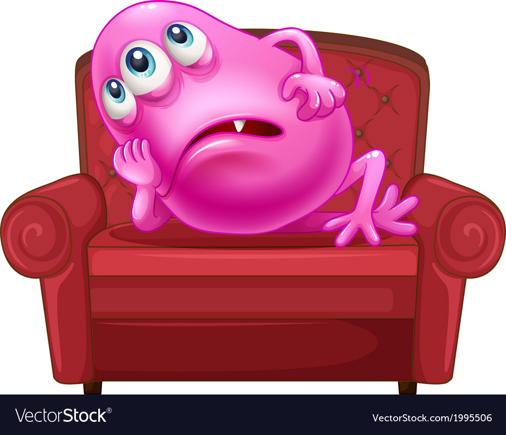 A couch with a pink monster vector | Price: 1 Credit (USD $1)