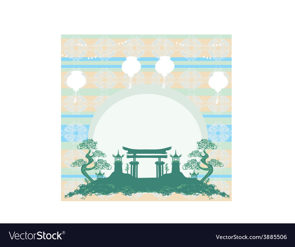 Asian buildings - chinese new year card vector   Price: 1 Credit (USD $1)