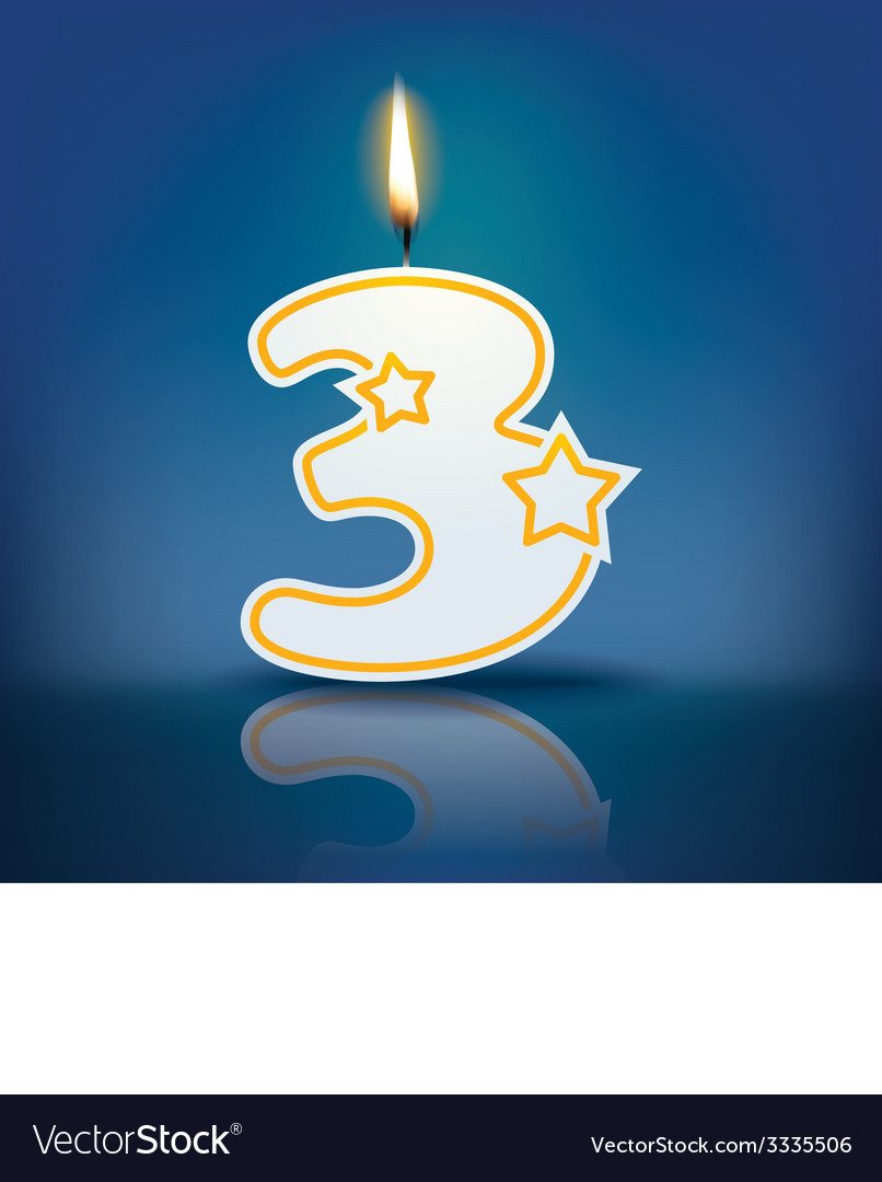 Candle number 3 with flame vector | Price: 1 Credit (USD $1)