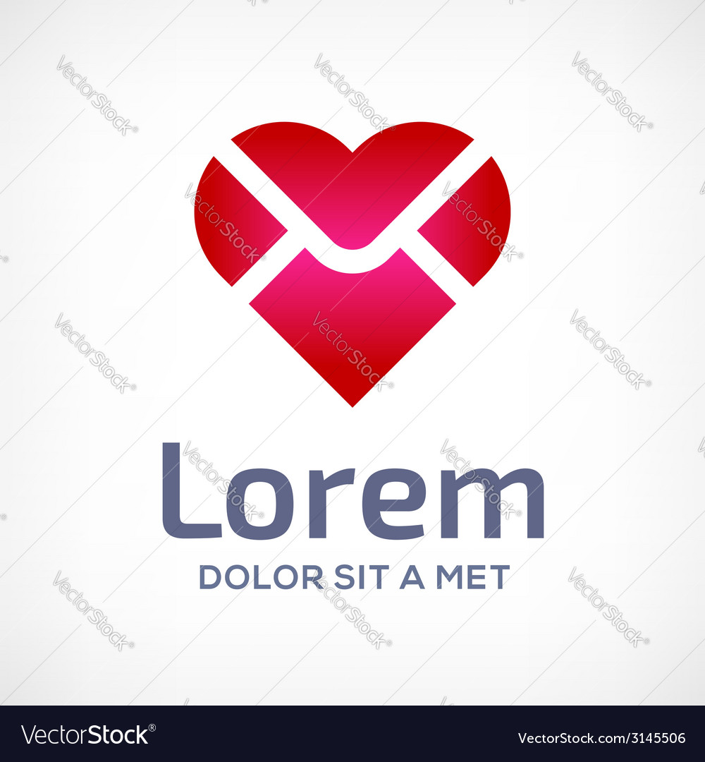 E-mail envelope heart logo icon vector | Price: 1 Credit (USD $1)