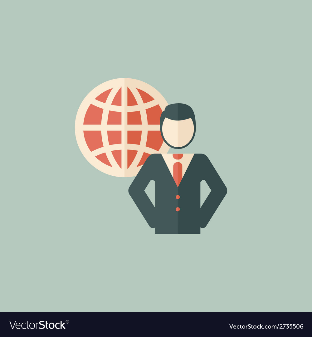 Global business flat icon vector | Price: 1 Credit (USD $1)