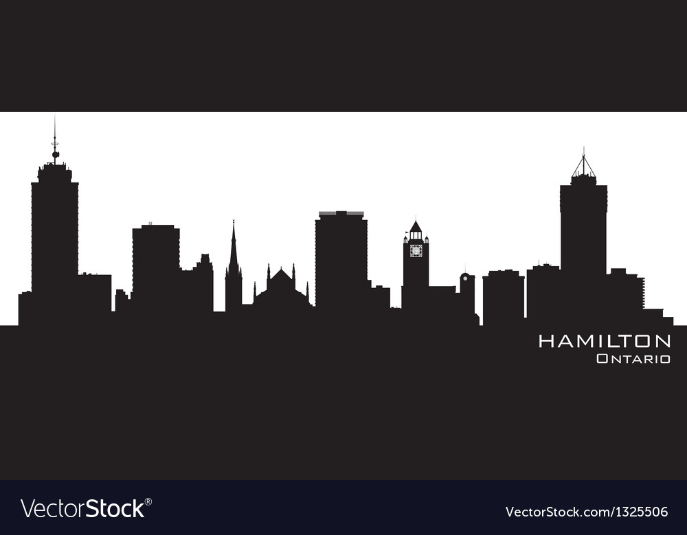 Hamilton canada skyline detailed silhouette vector | Price: 1 Credit (USD $1)