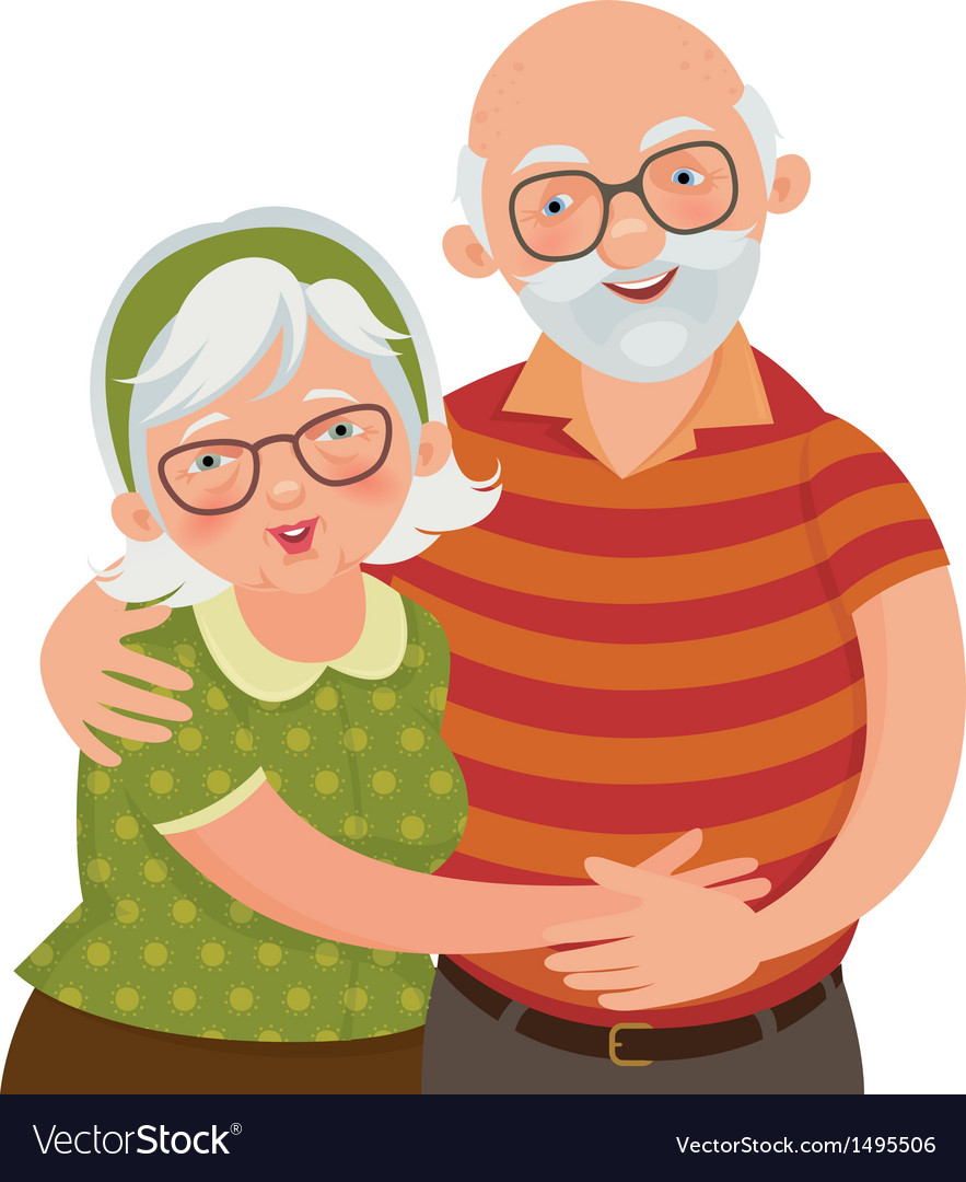 Happy old couple vector | Price: 3 Credit (USD $3)