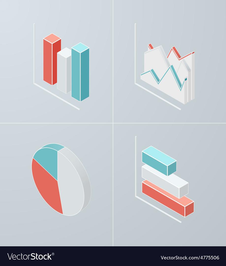 Isometric column chart icon vector | Price: 1 Credit (USD $1)