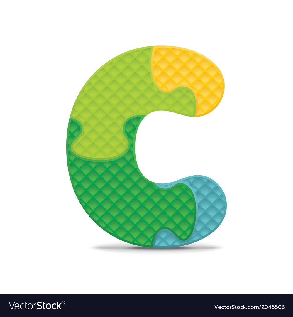 Letter c written with alphabet puzzle vector | Price: 1 Credit (USD $1)