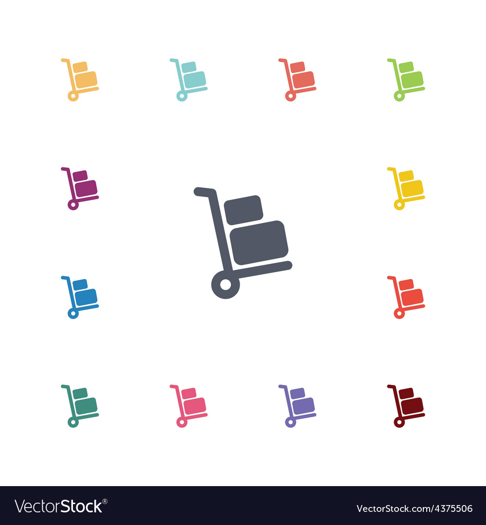 Luggage trolley flat icons set vector | Price: 1 Credit (USD $1)