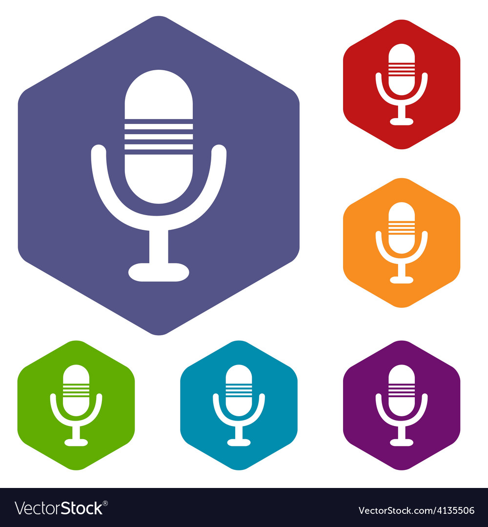 Microphone rhombus icons vector | Price: 1 Credit (USD $1)