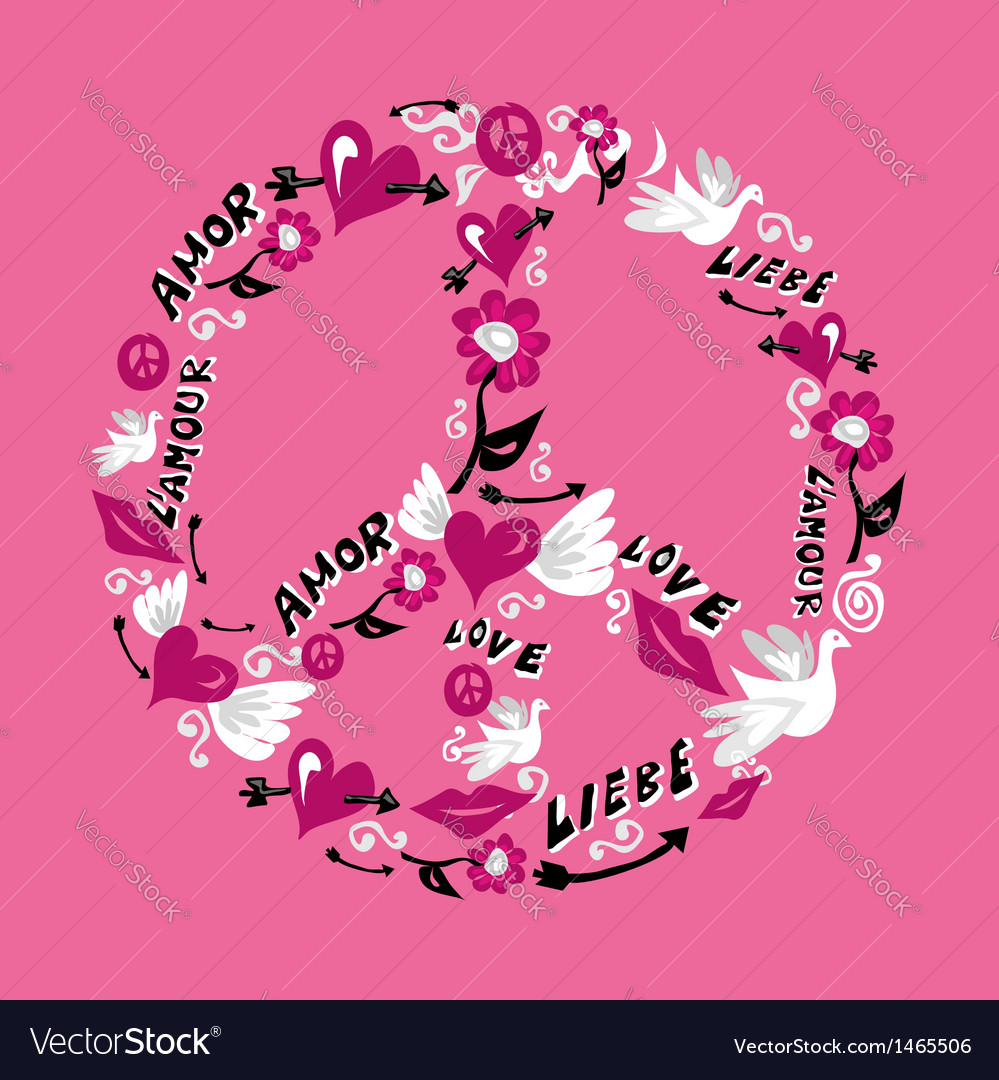Peace and love symbol vector   Price: 1 Credit (USD $1)