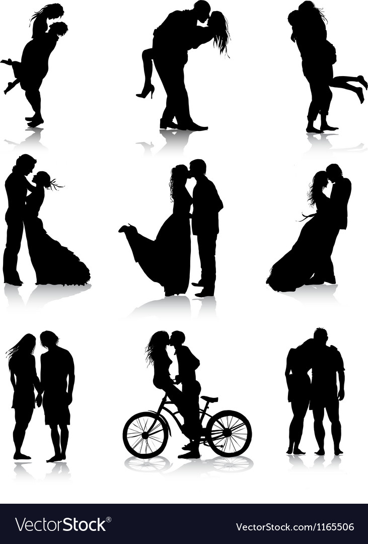 Romantic couples silhouettes vector | Price: 1 Credit (USD $1)