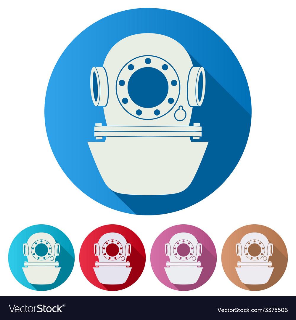 Set flat icons of underwater diving helmet vector | Price: 1 Credit (USD $1)